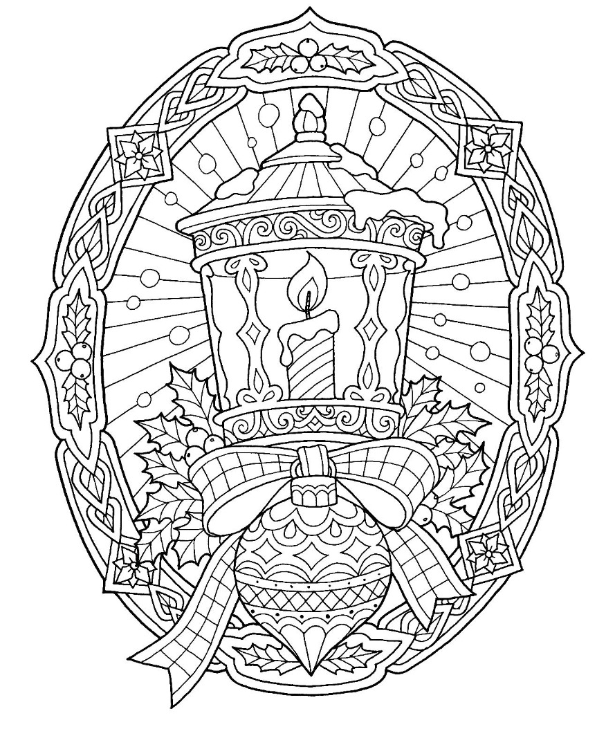 Lattern Christmas Coloring Page