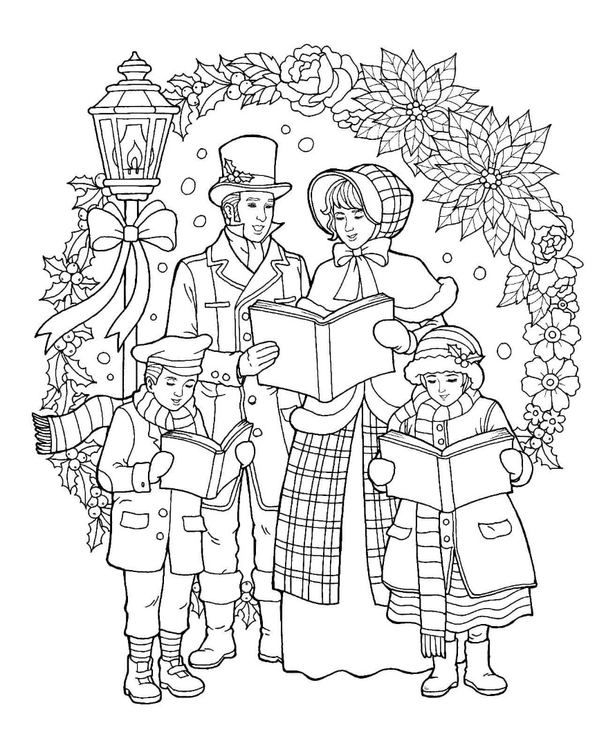 Caroler Christmas Coloring Page