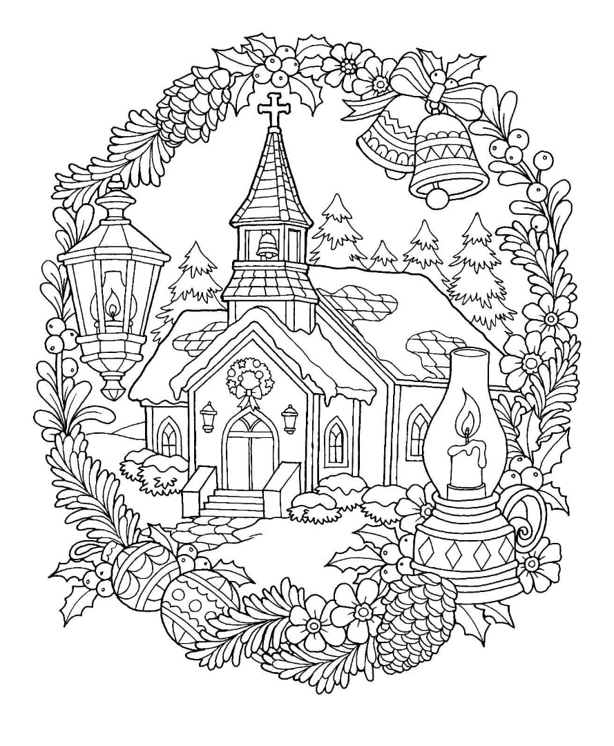 Christmas Church Coloring Page