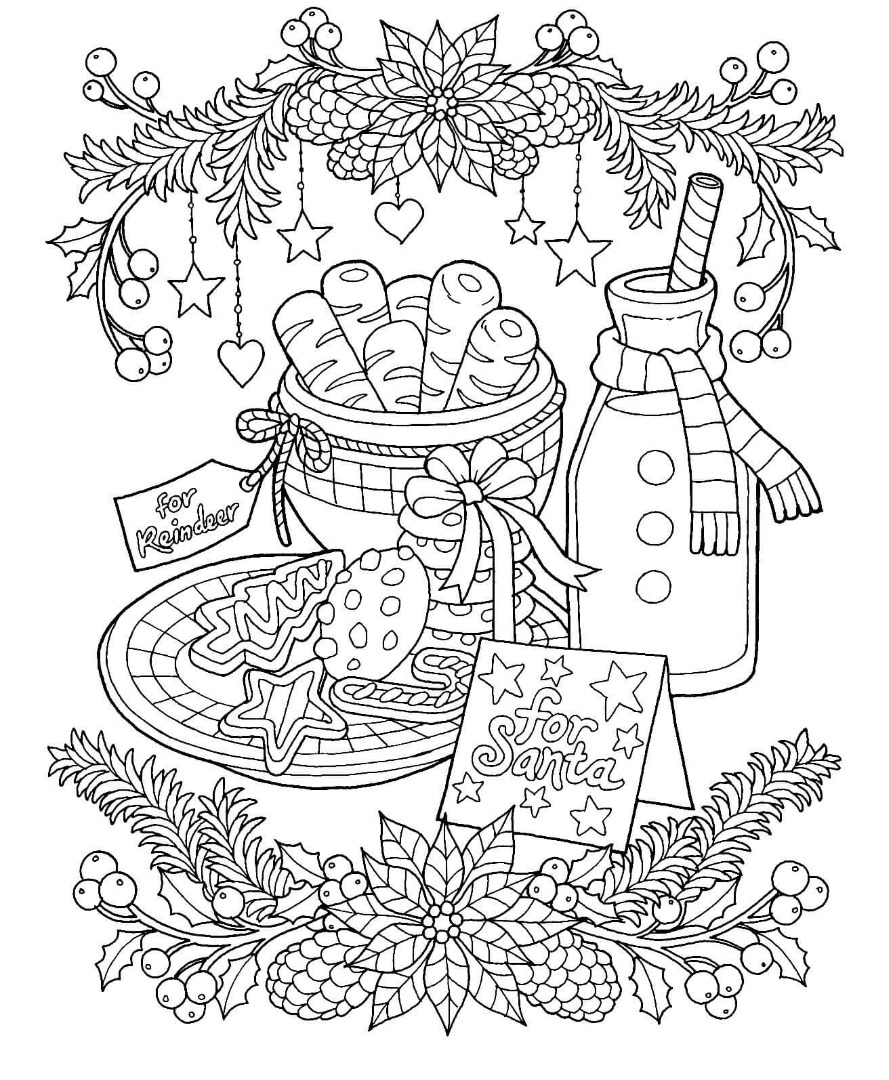 Christmas Milk and Cookies Coloring Page