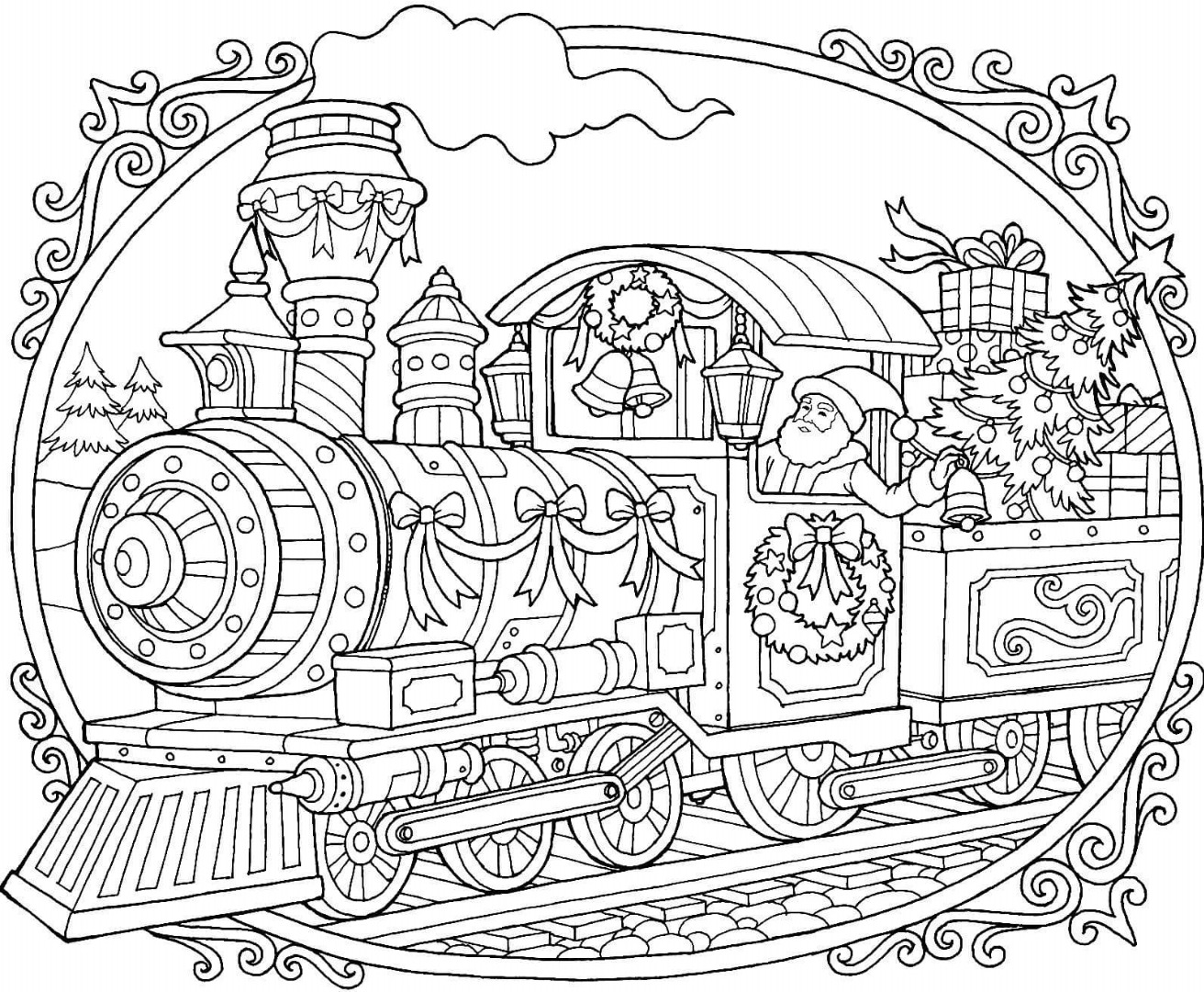 Christmas Train Coloring Page