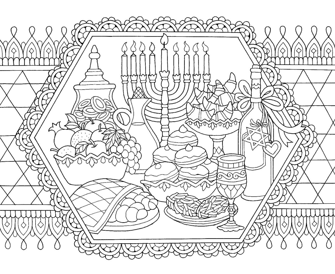 Hanukkah Feast Coloring Page