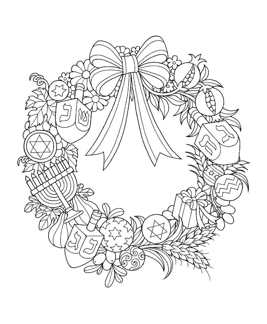 Hanukkah Star of David Dreidel Menorah Wreath Coloring Page