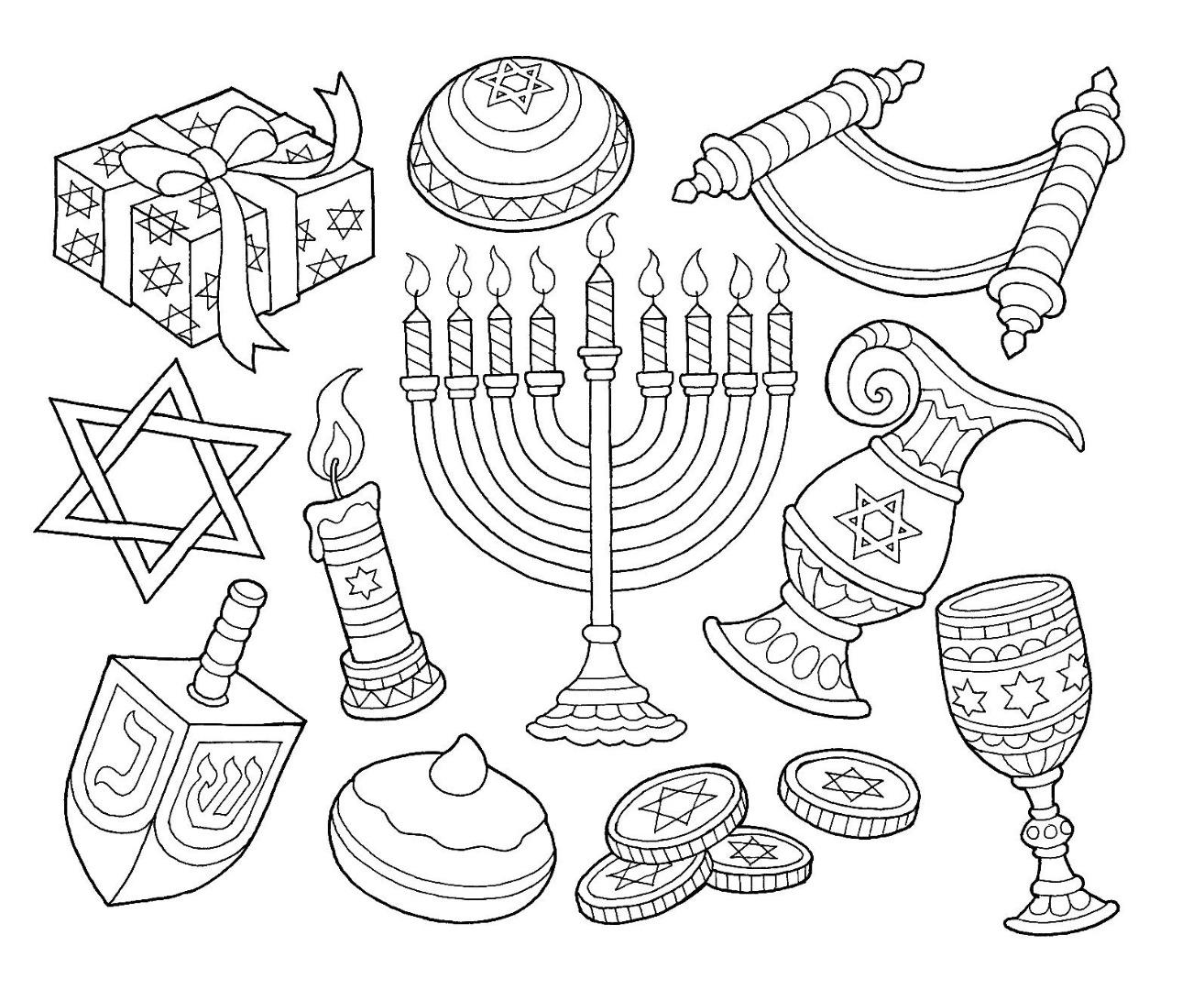 Hanukkah Drawing Coloring Page