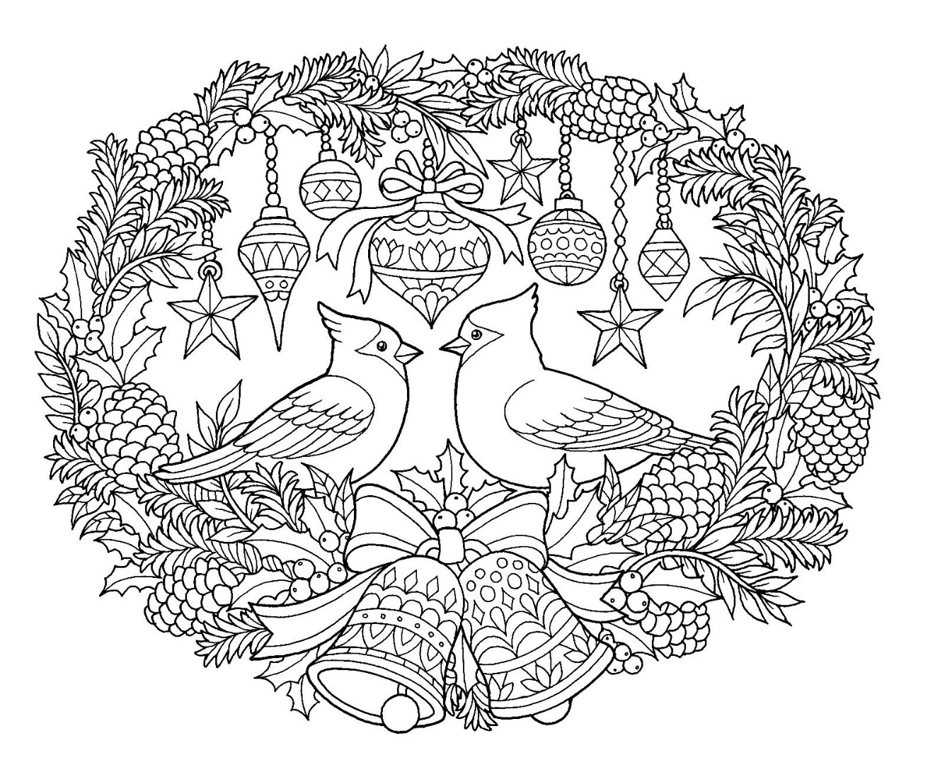 Christmas Turtle Dove Coloring Pages