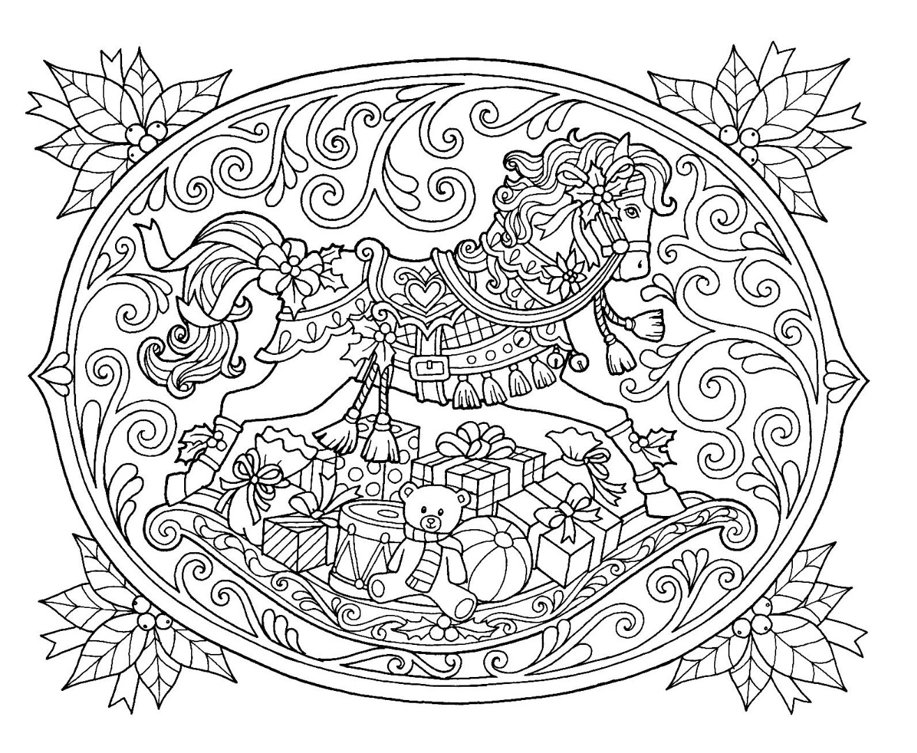 Christmas Rocking Horse Coloring Page