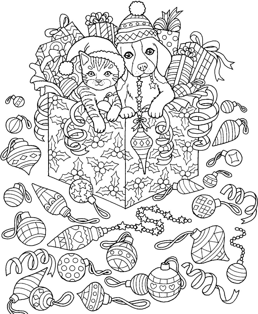 Christmas Cat Dog Coloring Page