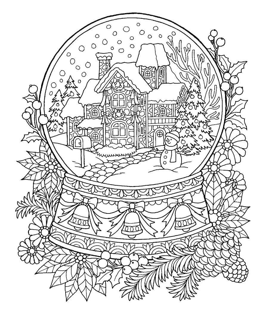 Christmas Snow Globe Coloring Page