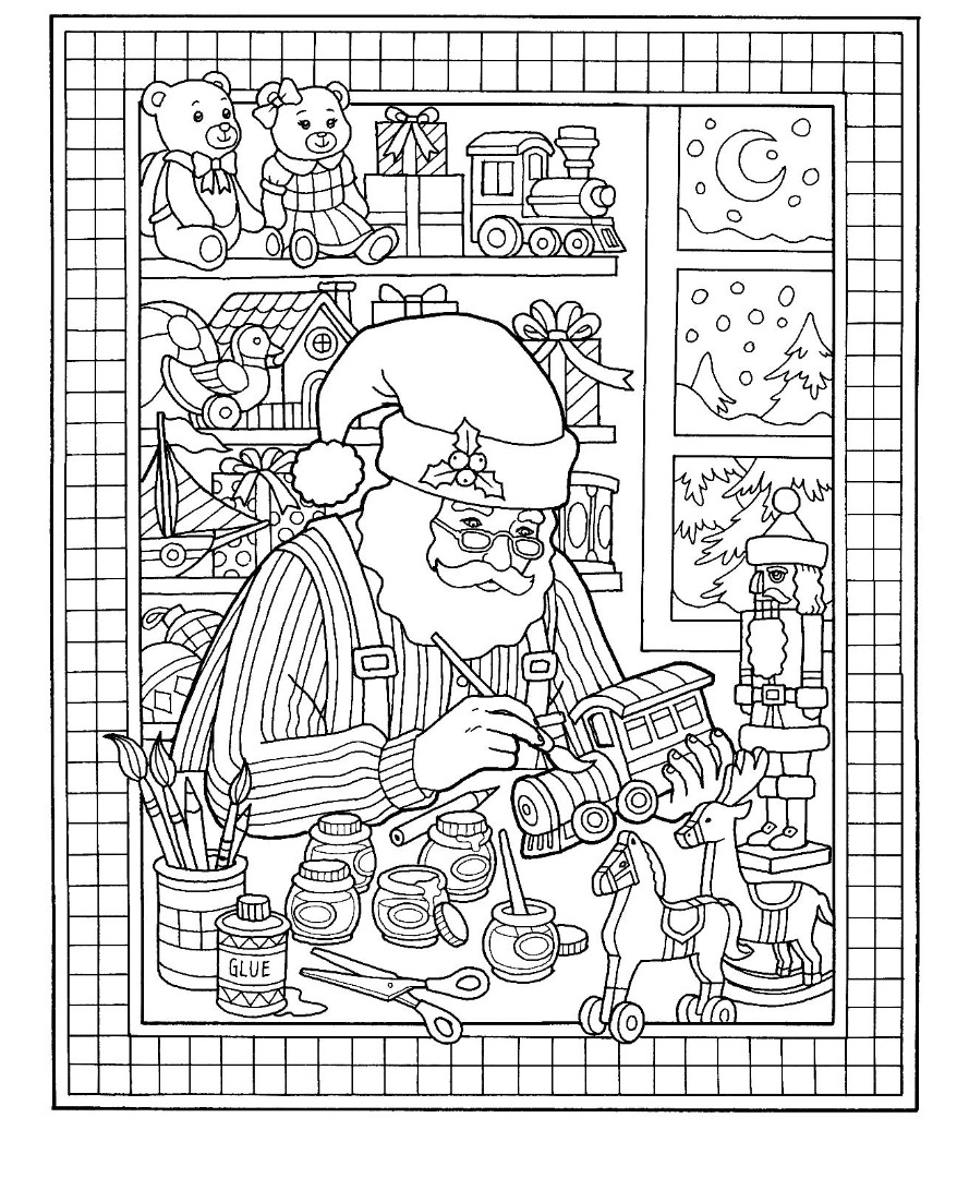 Christmas Santa Toy Shop Coloring Page