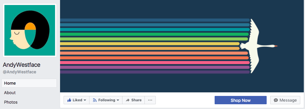 A simple and minimalist Facebook cover photo design goes a long way-- as evidenced by Andy Westface.