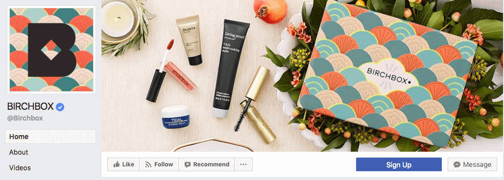 Flat-lay cover photos on Facebook are all the rage and Birchbox's highlights their products and packaging.