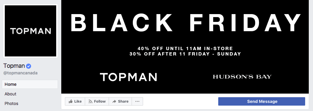 Topman uses their cover photo to advertise and list the essential details of their Black Friday sale.