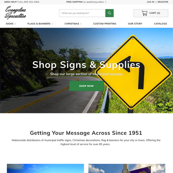 Evangeline Specialties - Traffic Signs, Flags & Banners, Decorations