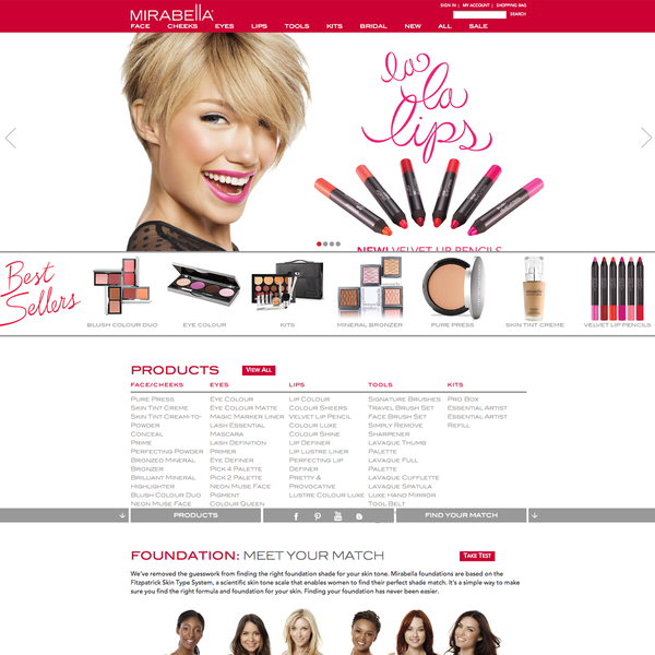 Beauty brand ecommerce website design.