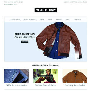 Members Only is a class 80's brand, WAG built their revamped website