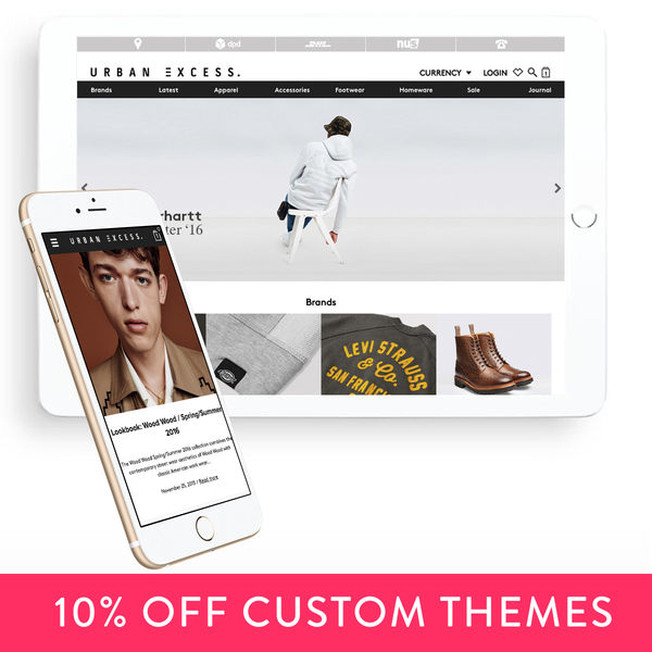 Custom Shopify theme development for Urban Excess in London.