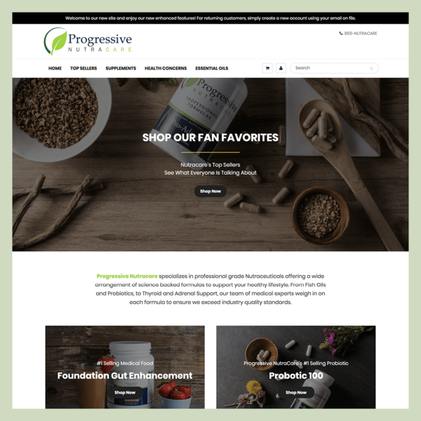 Progressive Nutracare: Store Migration, Theme Design/Development, SEO Strategy, Product Photography