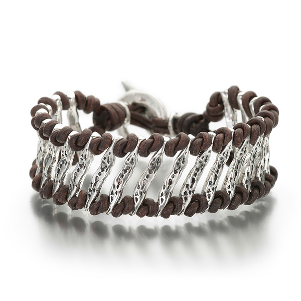 Silver and Leather Bracelet with Reflection