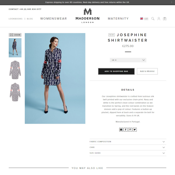 The redesigned Madderson London product page.