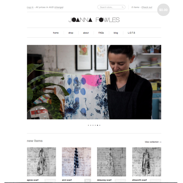 Online store for textile and pattern expert Joanne Fowles