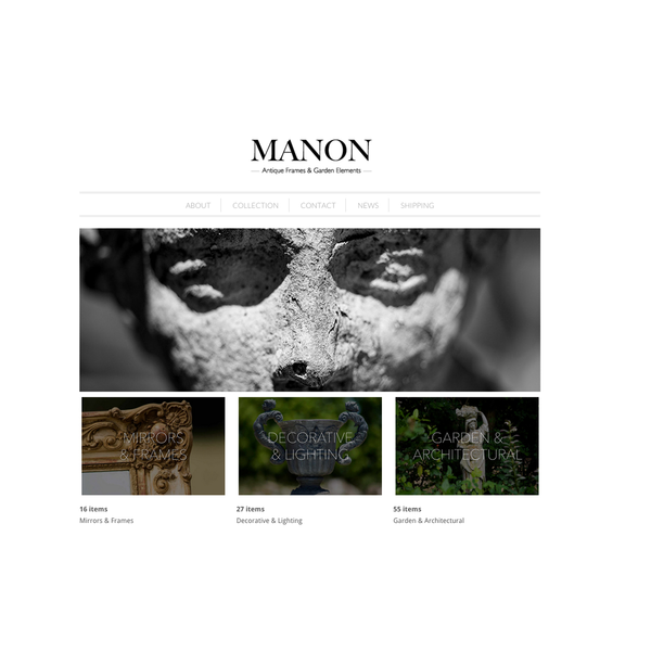 New brand and online store for Manon, home to Incredible outdoor and antique objects