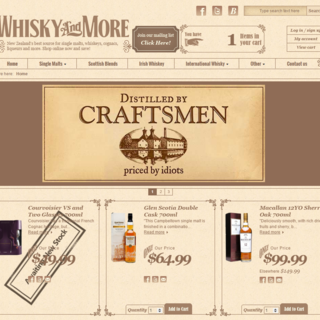 Whisky and More - NZ's largest online whisky store. www.whiskyandmore.co.nz