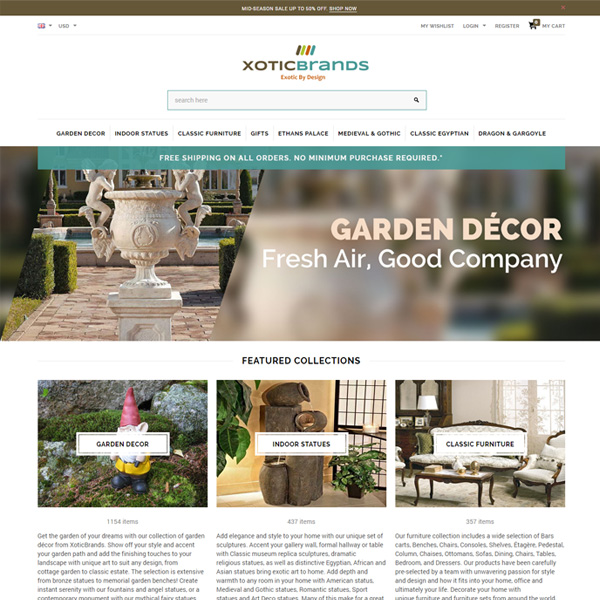 Responsive Shopify Store - Home and Garden / Home Decor / Furnishings - http://www.xoticbrands.net
