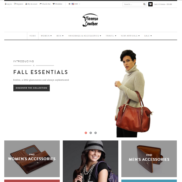 Responsive Shopify Store - Fashionable Bags and Accessories - VicenzoLeather.com