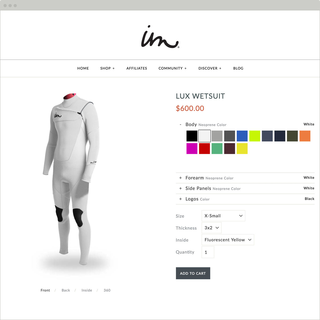 Fully customizable wetsuits individually crafted from premium Japanese neoprene