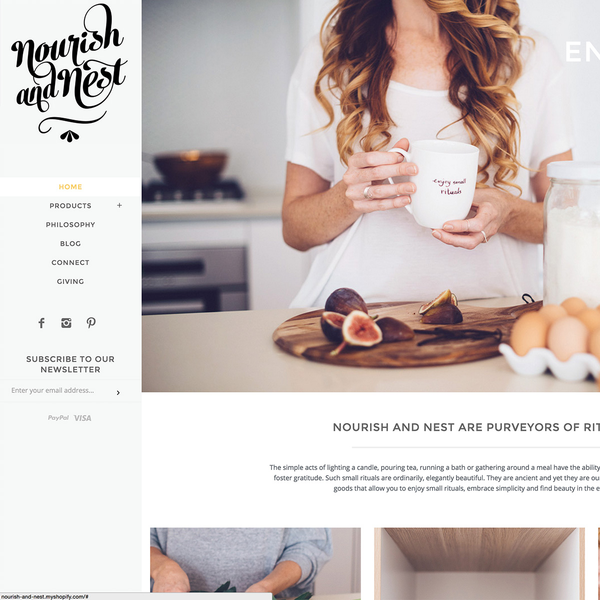 Nourish and Nest Homepage
