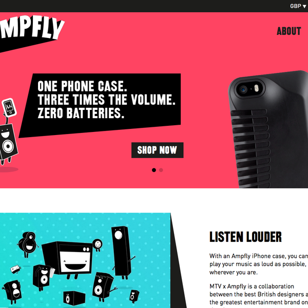 Ampfly Sound - batteryless amplification of your mobile music, promoted by MTV
