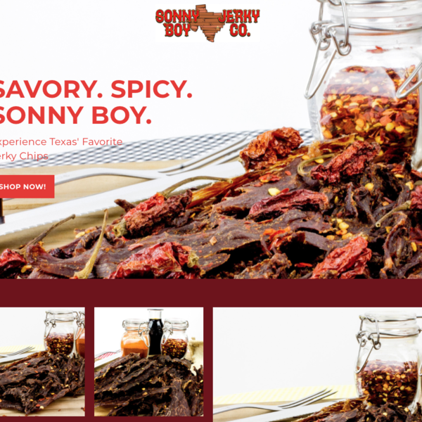 Custom photography, front end design, custom logo, delicious jerky!