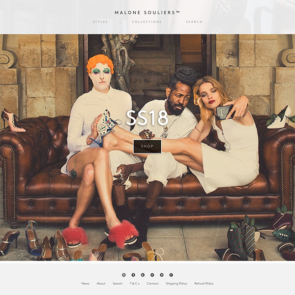 Malone Souliers - Shopify Plus bespoke theme with custom delivery app