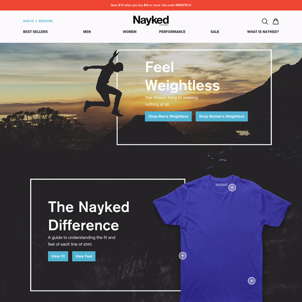 naykedapparel.com – custom design, responsive development for the entire site
