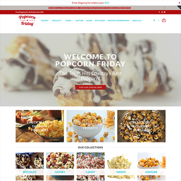 Popcorn Friday provides an eclectic assortment of sweet, savory, and specialty gourmet popcorn.