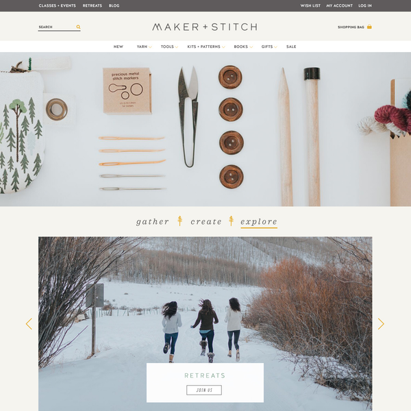 Maker + Stitch: brand identity, packaging, web design and development