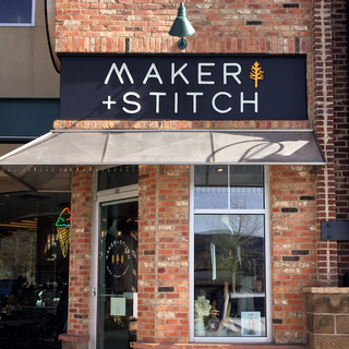 Maker + Stitch: brick and mortar storefront details