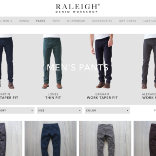 Raleigh Denim Workshop. Custom theme implementation. https://raleighdenimworkshop.com/