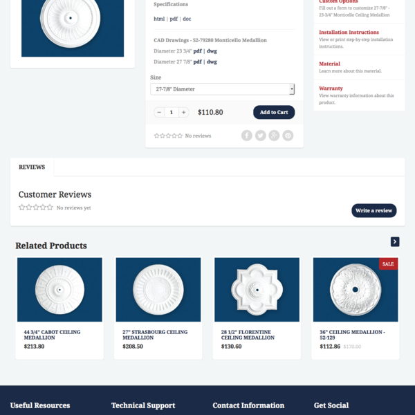 Custom product template page w/ custom fields for documentation.