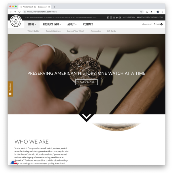 Custom website, lifestyle photography, and product photography for Vortic Watch Company