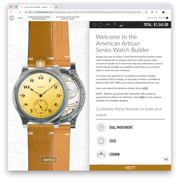 Custom watch builder/configurator tool for Vortic Watch Company