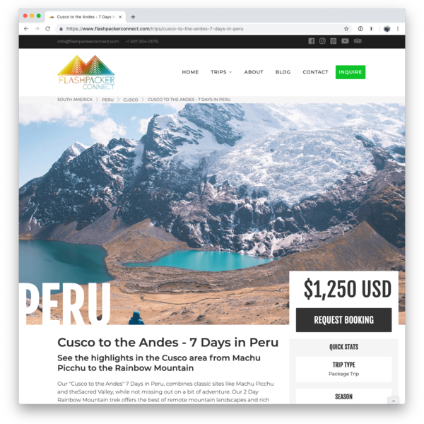 Custom website and blog for travel guide company Dirt Road Travels