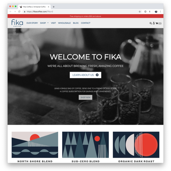 Custom website with recurring subscriptions for Fika Coffee