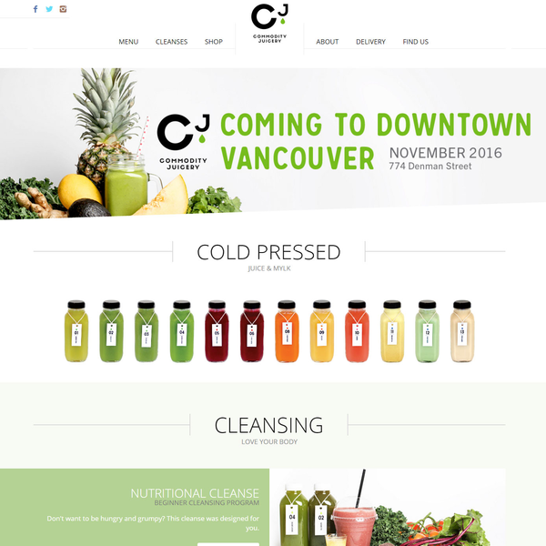 Food, Juice, and Hospitality website