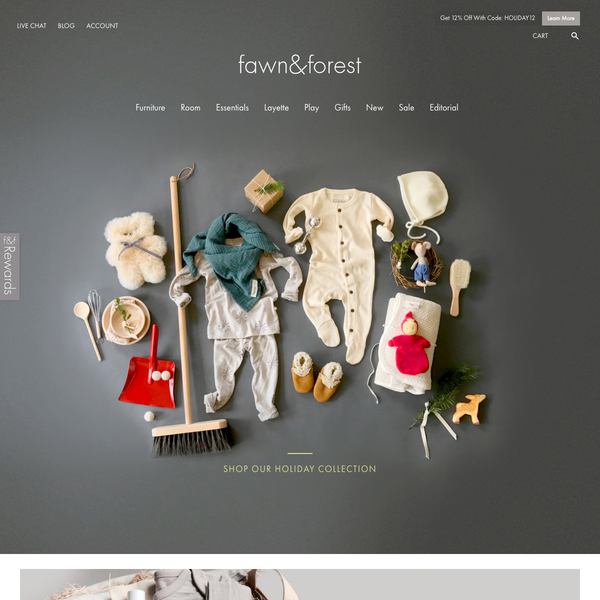 fawnandforest.com homepage with product photography
