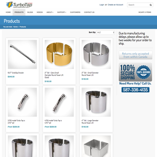 Turbo Tap Canada - E-Commerce store based on a design from the American affiliate corporation.