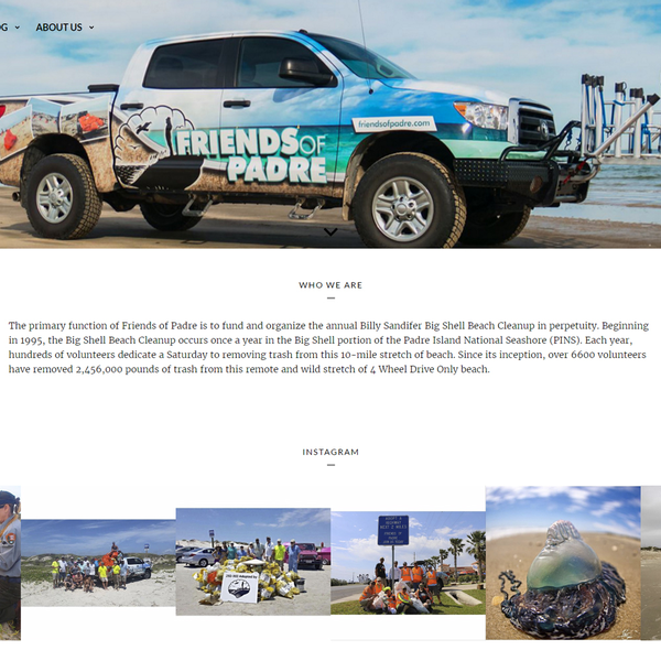 Friends of Padre homepage featuring photo gallery of events.