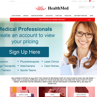 Healthmed.ca landing page with feature slider and product categories.