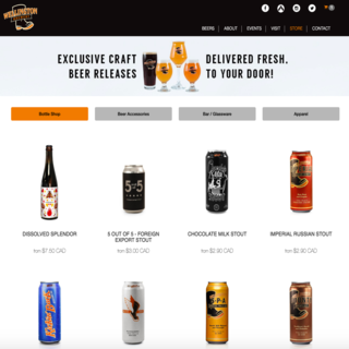 Buy beer, glassware and more from the Wellington Brewery Store integrated into its main website.