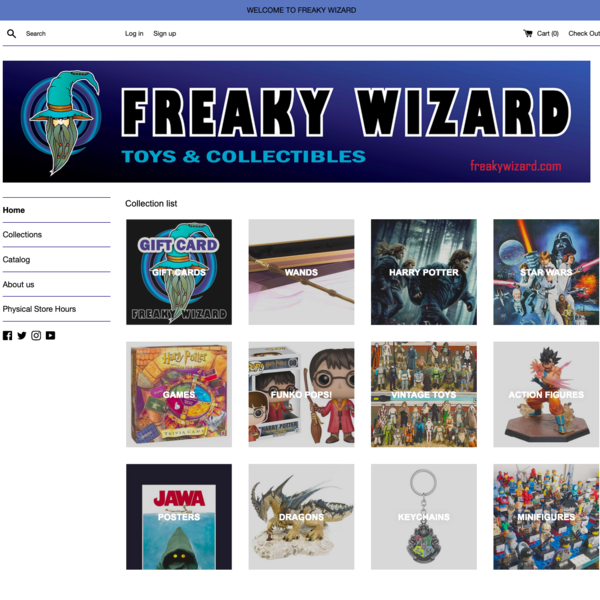 Freaky Wizard sells collectables (Lego, minifigures) and wizarding supplies (magic wands, potions).